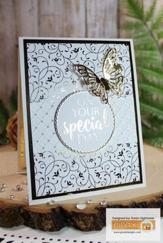 """This Card has a background and Greeting that were foiled using the sheets that are in the New Stamp Tv Kit """"Sending Love"""" These sheets can be used as they are or you can foil them! This kit is available @ http://www.shop.ginakdesigns.com Made For Gina K. Design By: Karen Hightower"""