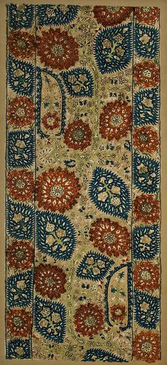 Ottoman Epirus Silk Embroidery – Turkey, 17th c, silk on cotton, sewn onto ground cloth and stretcher (43 cm x 94 cm).