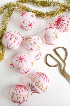 Embroidered Felt Wool Ornament DIY | A Beautiful Mess | Bloglovin'