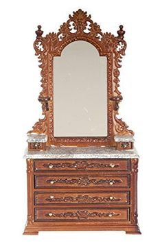 Doll House: Dollhouse Miniature 112 Scale Walnut Ri Mauldie Vanity with Marble TOP P6303a ** Read more reviews of the product by visiting the link on the image.
