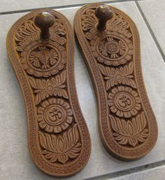 Paduka oldest Indian footwear; essentially a sandal comprised only of a sole and a knob fitting between the big and second toe; multitudes of varieties and forms using every type of material; can be plain or elaborate.