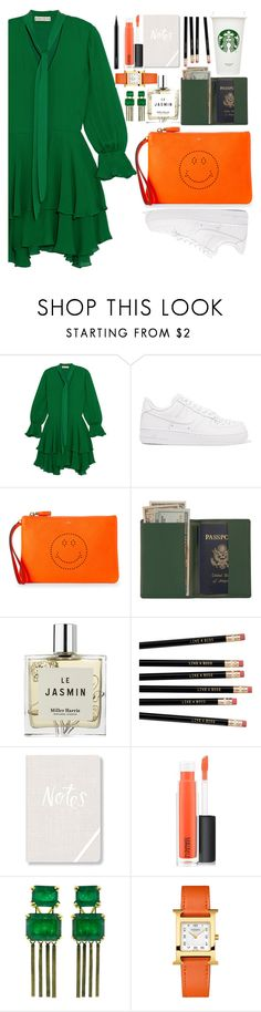 """Untitled #271"" by tayebaya on Polyvore featuring Alice + Olivia, NIKE, Anya Hindmarch, Royce Leather, Miller Harris, Fringe, MAC Cosmetics, Sylva & Cie and Hermès"