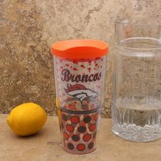 NFL Tervis Tumbler Denver Broncos 24oz Polka Dot Wrap Tumbler with Lid by Tervis Tumbler. $23.95. Tervis Tumbler Denver Broncos 24oz Polka Dot Wrap Tumbler with LidLid is dishwasher safe, top rack onlyDishwasher and microwave safeHolds approximately 24 ouncesIncludes snap-on lid with slide tab closure to prevent spillsOfficially licensed NFL productDouble-wall insulation keeps cold drinks colder & hot drinks hotterSublimated graphicsDurable, high-grade polycarbonateMade in ...