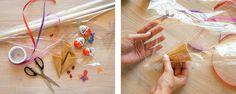 Material bereitlegen, je ein Überraschungs-Ei in eine Eiswaffel stecken und alles in transparenter Folie verpacken. Diy Birthday Decorations, Candy Bouquet, Presents, Easter, Gifts, Party, Wedding, Madness, Kids Birthday Games