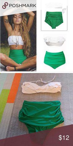 Swim set Very cute white ruffled bandeau top white high waisted green rouched bottoms Swim Bikinis