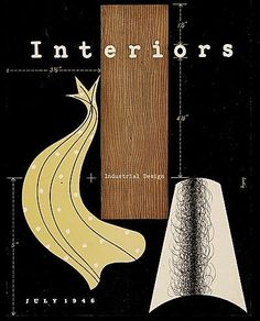 """Interiors"" (Industrial Design), July, (1946), Magazine Cover - GraphicArt by Alvin Lustig (b. 1915 - d. 1955, USA)."