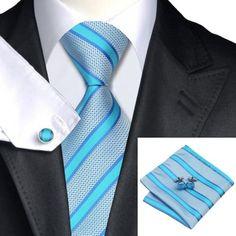 Mens Tie Set Light Pink Striped Silk Woven Necktie Hanky Cufflinks Wedding Gift