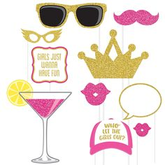 Girls Night Photo Booth Props include cutouts shaped as martinis, hats, and sparkly sunglasses. Use these cute photo props at your bachelorette party or girls night out. Silver Party Decorations, Graduation Party Centerpieces, Engagement Party Decorations, Wedding Photo Booth Props, Party Props, Ideas Party, Party Party, Small Birthday Parties, 50th Birthday Party