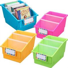 Really Good Stuff -- Chapter Book Library Bins™ With Dividers - Neon --Snap-tight dividers keep books neatly in place and allow you to set up one, two, or three sections per bin.  Also available in other multicolor and single-color four-packs, and single-color 12-packs. -- $7.49/each