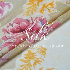 Shocking Melon Pink with Gold Metallic Silk Chiffon Fabric--One Yard