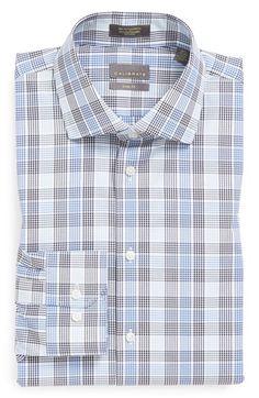 Calibrate Non-Iron Trim Fit Plaid Dress Shirt