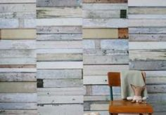 White wallpaper Scrapwood by Studio Ditte This faux wood wallpaper panel, with its patched and botched wooden floorboards, is a unique attribute to any wall. Wood Wallpaper, White Wallpaper, Amazing Wallpaper, Wood Panel Walls, Wood Paneling, Paneled Walls, Metal Walls, Diy Design, Interior Design