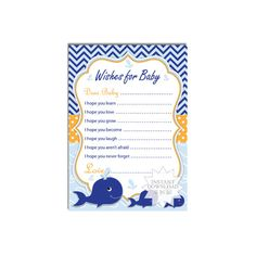 Whale Wishes Baby Shower Wish Card-Well Wishes by AllbyWanda