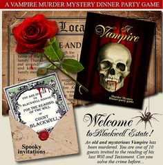 31 trendy dinner party games for adults other Mystery Dinner Party, Dinner Party Games, Adult Party Games, Mystery Parties, Vintage Halloween, Halloween Party, Gothic Halloween, Halloween Vampire, Halloween Stuff