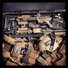 Navy SOF Gear Box: plate carrier with minimum 6x mags, IR strobe/beacon, MICH with NODs, IR strobe, and googles, plus combat belt.  Weapon Crate: P226 Mk-25 9mm pistol with TACLite, P226R-DAK .40SW pistol with TACLite, MBITR JEM radio, Mk-18 MOD 0 Close Quarters Battle Receiver with M-4A1 lower, PEQ-15 laser aiming module, and EOTECH reflex sight. M-4A1 upper receiver PEQ-15 laser aiming module, SureFire suppressor, and M-3 TACLite. Plus PVS-15 night vision device, Trijicon ACOG with RMR-1.