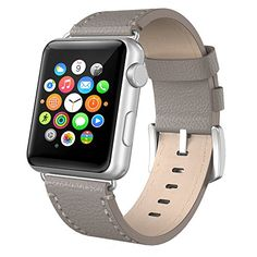 Apple Watch Band 38mm Leather Swees iWatch Genuine Leather Bands Strap Replacement Wristband with Stainless Steel Clasp Buckle for Apple Watch Series 2 (2016) / Series 1 Women Men Grey