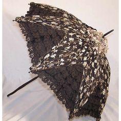Edwardian Black Lace Violet Embroidery Mourning Parasol -