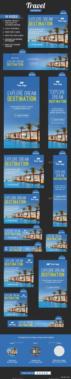 16 awesome quality banner template PSD files ready for your Travel design. Display Advertising, Display Ads, Display Banners, Web Banners, Google Banner, Banner Design Inspiration, Destinations, Explorer, Google Ads