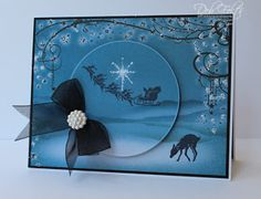 serene Christmas scene card with circle layer within the image - monochromatic blues - bjl