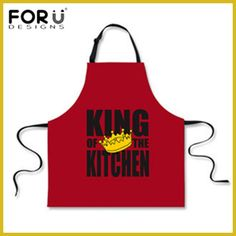 FORUDESIGNS King of The Grill BBQ Funny Aprons for Men Kitchen Cook Work Red Black Suit Design Utilidades Domesticas Criativas