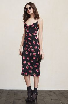For those times when you need to be a bit fancy, the Nina Dress. It will have you looking hot for any thing you have to go to. This is a crepe midi slip dress with a cowl neckline, adjustable straps and a slit in the back.   https://www.thereformation.com/products/nina-dress-strawberry?utm_source=pinterest&utm_medium=organic&utm_campaign=PinterestOwnedPins