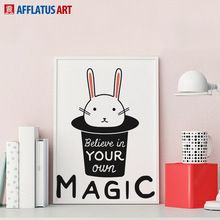 AFFLATUS Canvas Painting Nordic Kawaii Miffy Rabbit Watercolor Painting Canvas Poster Print Wall Pictures Kids Room Home Decor(China (Mainland))
