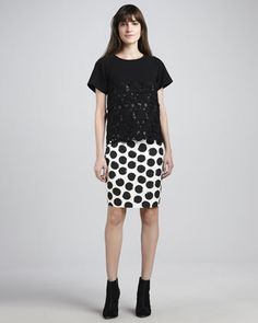 Floral-Lace Knit Top & Polka-Dot Pencil Skirt by Whit at Neiman Marcus.