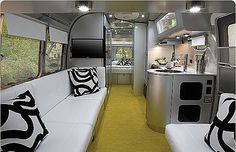 Interior of an airstream travel trailer designed by Christopher Deam. I have always wanted an airstream. Camper Interior Design, Airstream Interior, Trailer Interior, Vintage Airstream, Modern Interior, Interior Ideas, Airstream Remodel, Airstream Living, Vintage Campers