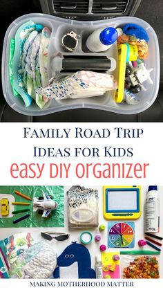 Whenever I am on-the-go with my kids, it takes me forever to pack up all of our things. Inevitably, I forget something. But then I thought of this awesome mom hack! See how family road trip ideas for kids are made simple with this easy DIY organizer.