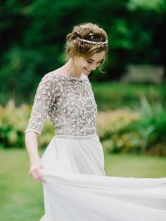 Bride Thea wears a Halfpenny London gown for her laid back dinner party wedding. Photography by John Barwood.