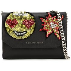 Philipp Plein 'One Way' clutch ($3,580) ❤ liked on Polyvore featuring bags, handbags, clutches, black, chain handle handbags, black clutches, philipp plein, black handbags and black purse