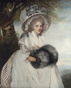 Portrait of Mrs Wells, three-quarter-length, seated, in a striped dress and straw hat, Sir Joshua Reynolds