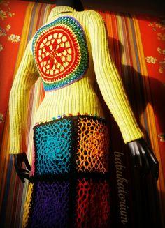 RainButton Crochet Mandala Upcycled Sweater Coat by babukatorium
