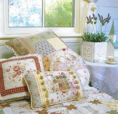 Feminine patchwork pillows