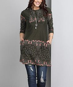 Olive Border Notch Neck Pin Tuck Tunic - Plus #zulily #zulilyfinds