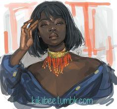 rakugaki - little one hour study of the very lovely. Black Girl Cartoon, Black Girl Art, Black Women Art, Art Girl, Black Girls, Afro Art, Black Anime Characters, Female Characters, Black Art Pictures