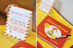 {Bananas & Bow ties} Curious George Party with a banana split bar, striped red printables, fabric drink wrappers & striped party printables.