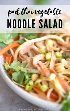 This pad Thai vegetable noodle salad makes a light Summer meal that's highlighted by a creamy vegan pad Thai sauce made with almond butter and tamarind. Delicious Vegan Recipes, Raw Food Recipes, Asian Recipes, Dinner Recipes, Healthy Recipes, Easy Recipes, Vegan Pad Thai Sauce, Tofu Sauce, Vegan Dinners