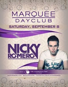 Marquee Dayclub Welcomes Dutch DJ and house music composer/producer, Nicky Romero. Nicky has worked with, and received support from, DJ's such as Hardwell, Tiësto, Fedde Le Grand, David Guetta,Sander Van Doorn and Calvin Harris. Recognizing his talent, MTV named him an EDM artist to watch in 2012. His popularity has risen in recent years, and he has attained a joint residency with David Guetta at party hot spot Ibiza for the summer of 2012.