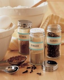 Bring visual harmony to assorted spices by transferring them to plain jars (we used glass ones, available at housewares stores) and tagging the containers with our self-adhesive labels.