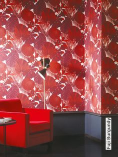 OXYGEN by Khrôma // Fiji Burgundy // The design in Fiji resembles exotic foliage. It's a botanical pattern with giant leaves and exotic flowers, which give energy, life and air to our home. Hunter Douglas, Exotic Flowers, Fuji, Interior Inspiration, Interior Decorating, Burgundy, Curtains, Wallpaper, Design