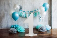 boy smash the cake blue ballons paper decor grey baby first year one