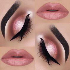 Várias fotos de sombra em tom rosa. Clique e confira! #Maquiagem #sombrarosa