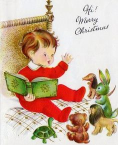 Vintage Christmas Card ~ Little Boy in Purple PJ's & Scottie Pup ...