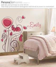 """""""Emily"""" Childrens Wall Decal - Flowers 'n' Hearts with Name Personalization - Large Vinyl Art Sticker - For Nursery or Kids Girls Teens Room Girls Bedroom, Bedroom Decor, Wall Decor, Childrens Wall Decals, Monogram Wall Decals, Little Girl Rooms, Home And Deco, My New Room, Decoration"""