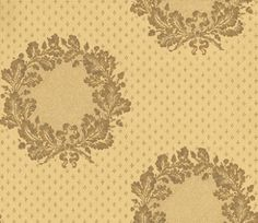 New Oak Garland Gold (ZCDW05019) - Zoffany Wallpapers - A traditional design of oak-leaf garlands with acorns and ribbons in beautiful metallic gold and golden-cream. With a subtle brown lacquer-effect detail to the wreaths. Additional colourways also available. Please request sample for true colour match.