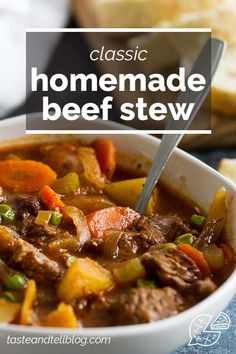 This Beef Stew is the perfect comforting stew for chilly nights or Sunday dinners. This homemade stew is filled with beef, potatoes, carrots, celery and peas for the perfect cold weather meal. #recipe #comfortfood #beef #beefstew Best Soup Recipes, Chili Recipes, Yummy Recipes, Favorite Recipes, Vegetable Soup Healthy, Vegetarian Soup, Homemade Beef Stew, Sunday Dinners, Slow Cooker Soup