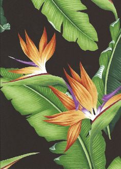 10eleu Tropical Bird of paradise with banana leaves - cotton barkcloth fabric.