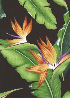 10eleu Tropical Bird of paradise with banana leaves.     - cotton barkcloth fabric.