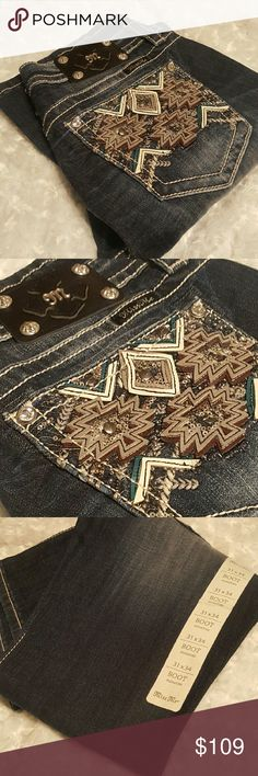   miss me   jeans   Brand new with tags. Miss me jeans. Super fun pocket. Size 31/34.  Boot cut. Miss Me Jeans Boot Cut